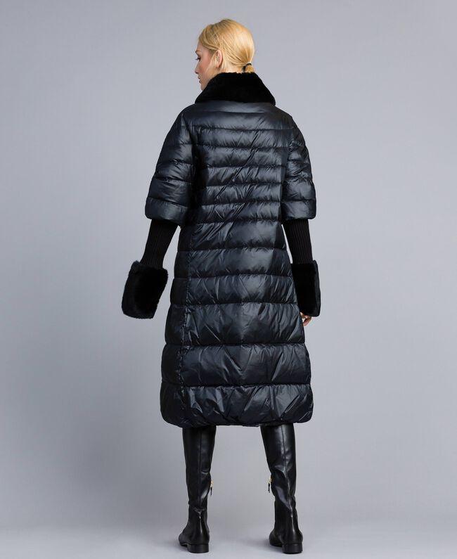 Long shiny nylon padded jacket Black Woman TA82C1-03