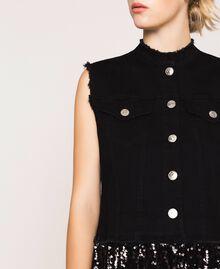 Full sequin shirt dress Black Denim Woman 201MP2260-04
