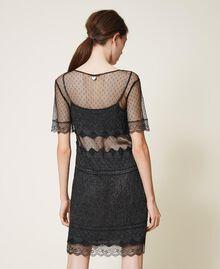 Vestido de punto con encaje y tul Negro Mujer 202TP3040-03