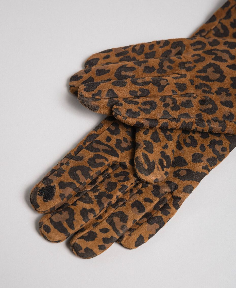 Guanti lunghi in pelle stampa animalier Stampa Animalier Donna 192MA4302-02