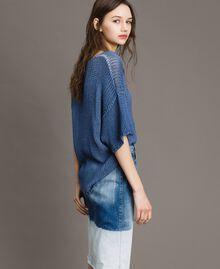 Pull réversible avec encolure en V Bleu cobalt Femme 191MT3011-02