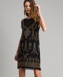 Leinen-Kleid mit Perlen und Pailletten Schwarz Frau 191TT2063-0T