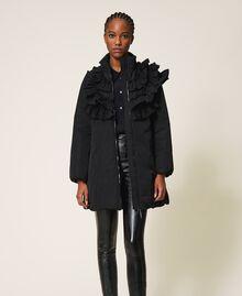 Wattierter Mantel aus Taft mit Rüschen Schwarz Frau 202ST2100-03