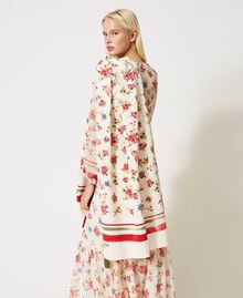 Pleated stole with floral print Cream White Floral Print Woman 202MA432L-0T
