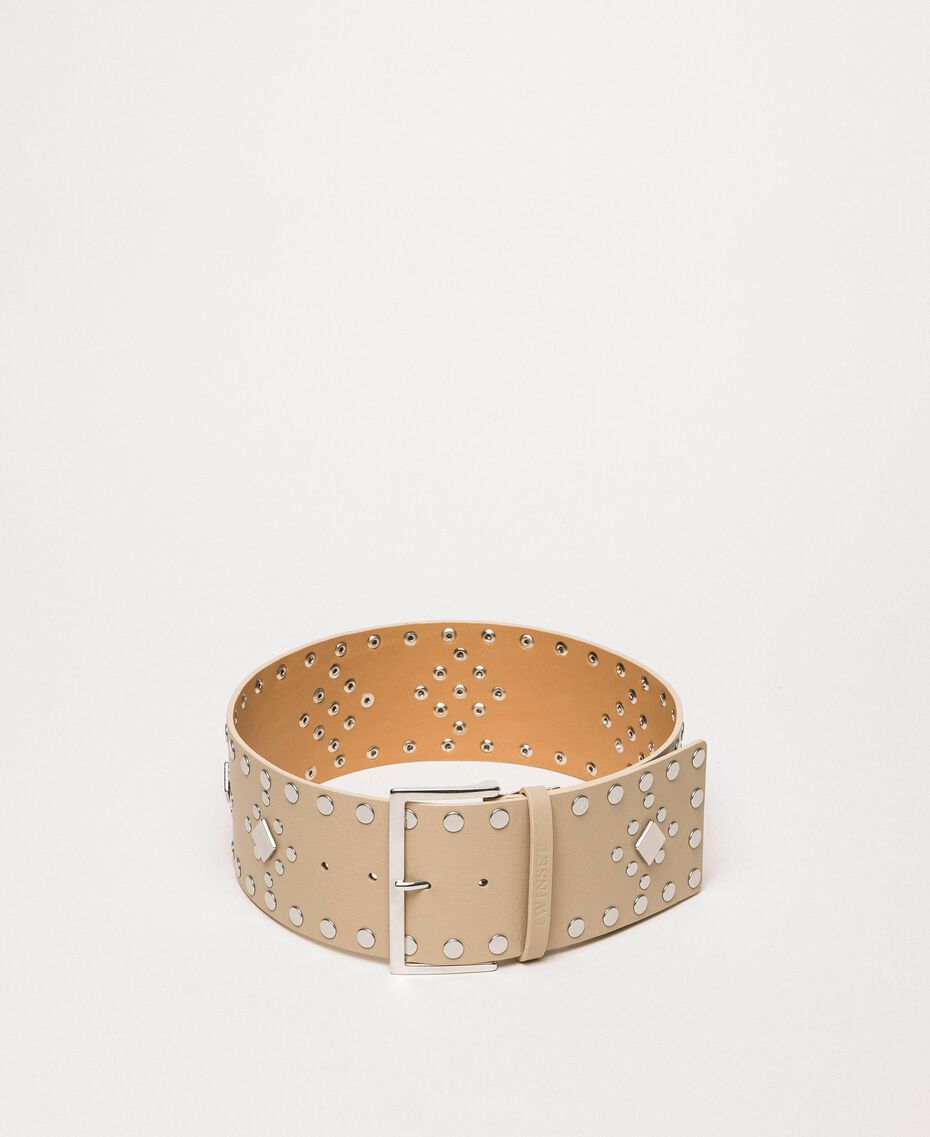 Studded wide leather belt Black Woman 201TO5342-01