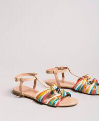 Mehrfarbige Leder-Sandalen