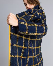 Manteau jacquard à carreaux all-over Bicolore Bleu Nuit / Jaune Doré Femme YA83HA-02