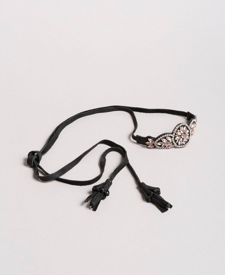Collier chocker-ceinture avec strass Noir Femme 191TA431M-01