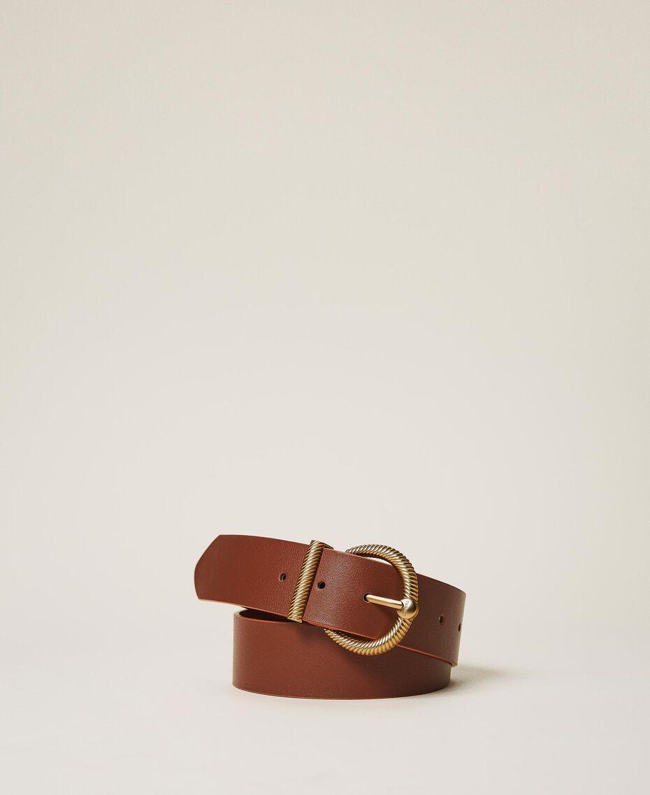 Кожаный ремень с пряжкой 'торшон' Кожа женщина 202TO5011-02