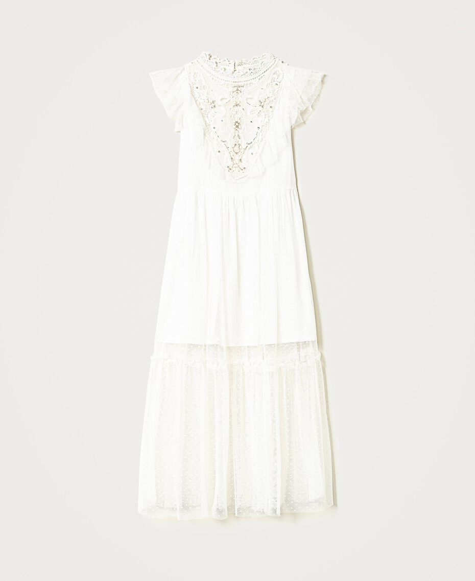 Tulle and muslin dress with embroidery Off White Child 211GJ2Q3B-0S