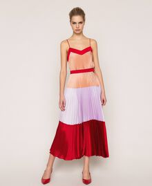 "Pleated long satin skirt Multicolour ""Lava"" Red / ""Ballerina"" Purple / Nude Pink Woman 201TP2313-01"