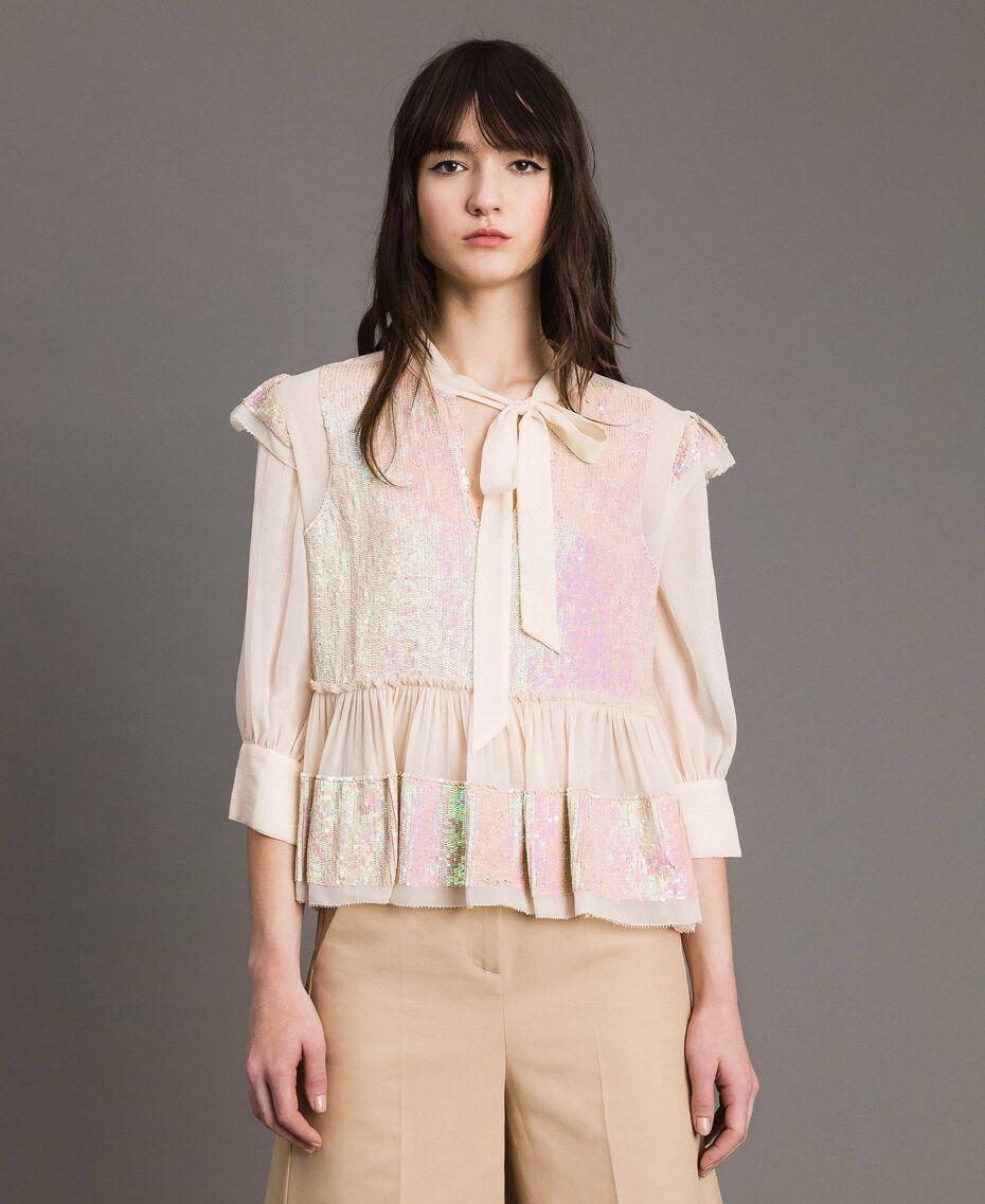 Georgette-Bluse mit Pailletten Blütenknospenrosa Frau 191TP2582-02