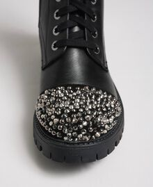Leather combat boots with full rhinestone toe Black Woman 192TCP01J-03