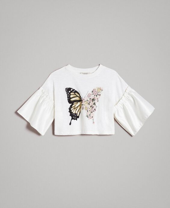 T-shirt en jersey avec volants en satin