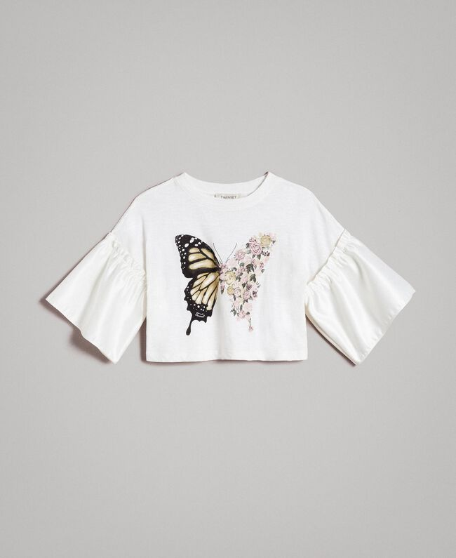 Jersey T-shirt with satin flounce Off White Child 191GJ2402-01