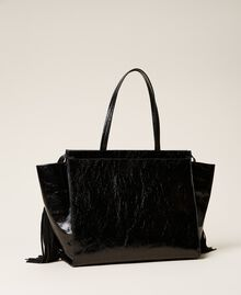 Leather shopper with fringes Black Woman 212TB7110-04