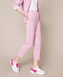 """Pin stripe cigarette trousers """"Candy"""" Pink Pin Stripe Jacquard Woman 201ST2081-02"""