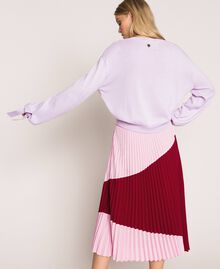 "Pleated crêpe de Chine midi skirt Two-tone ""Silk"" White / Black Woman 201ST2013-03"