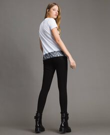 Leggings au point de Milan Noir Femme 191MP2158-04