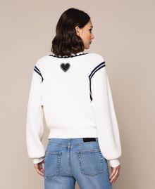"Boxy jumper with crochet embroidery Two-tone Vanilla / ""Indigo"" Blue Woman 201MP3040-03"