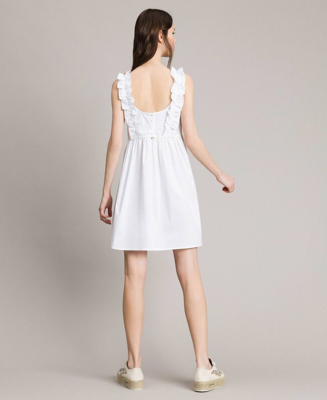 Popeline-Kleid mit Rüschen und Brosche Weiß Frau 191MT2050-04