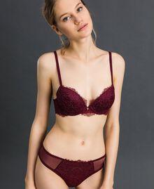 Slip in pizzo bicolore Purple Red / Grigio Piombo Donna 192LI6466-02