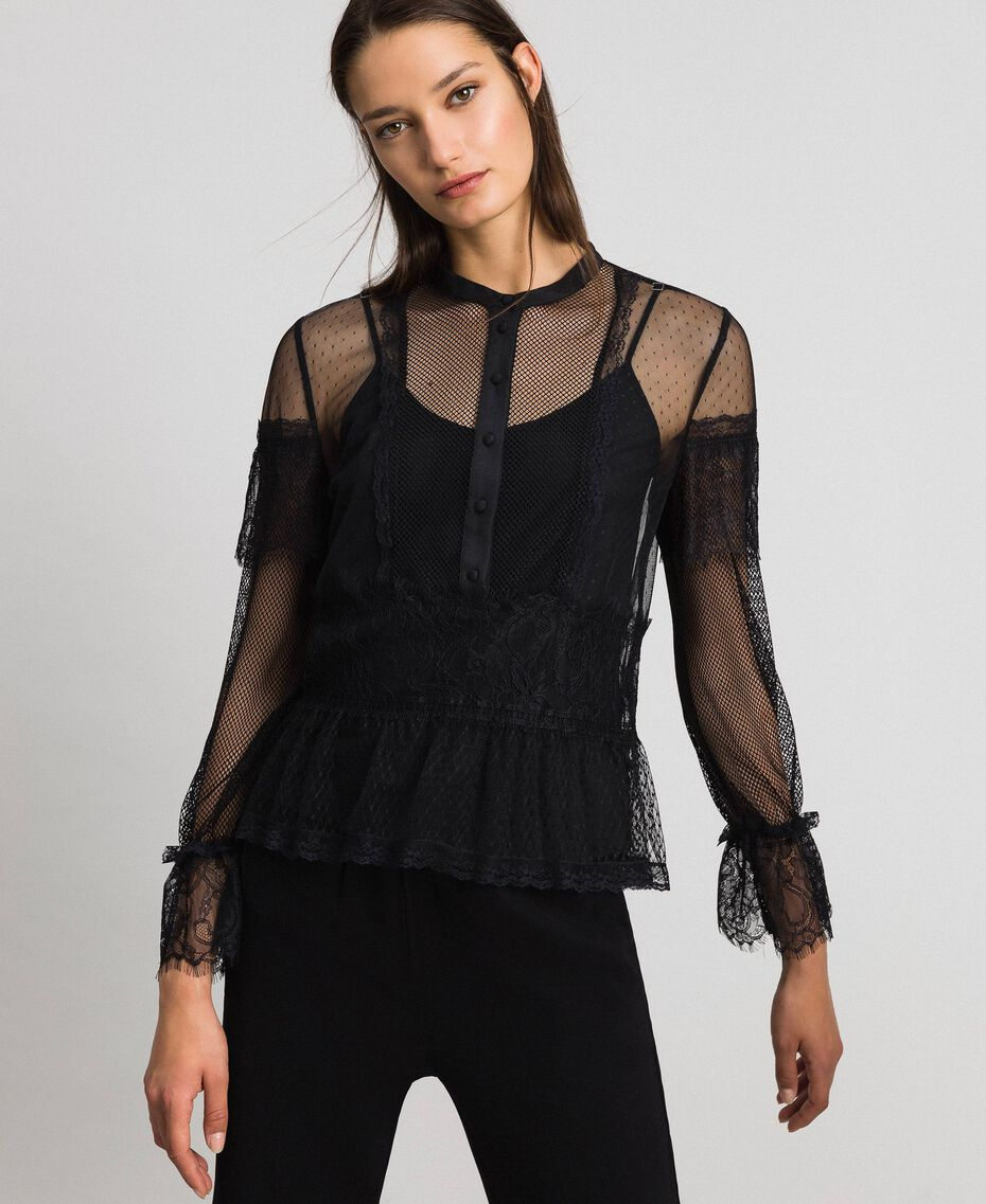 Blouse with tulle, lace and plumetis patch Black Woman 192TP2290-01