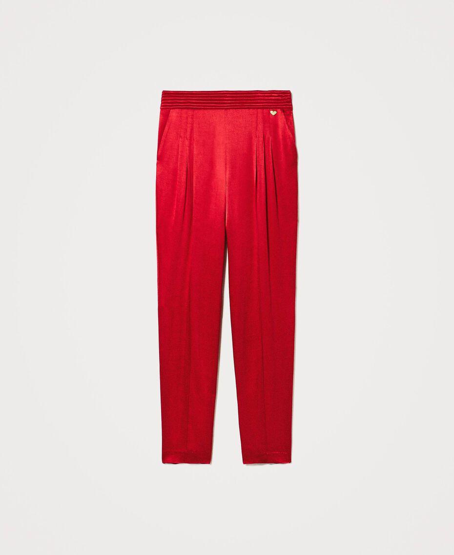 Pantalon en satin Noir Femme 202TP2144-0S