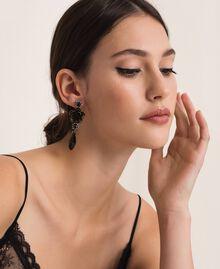 Ohrringe mit Blume und Tropfenanhänger Schwarz Frau 201TA4308-0S