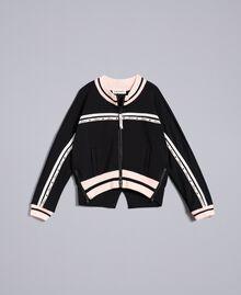 "Technical fabric sweatshirt with logo Bicolour Black / ""Blush"" Pink Child GA82PN-01"