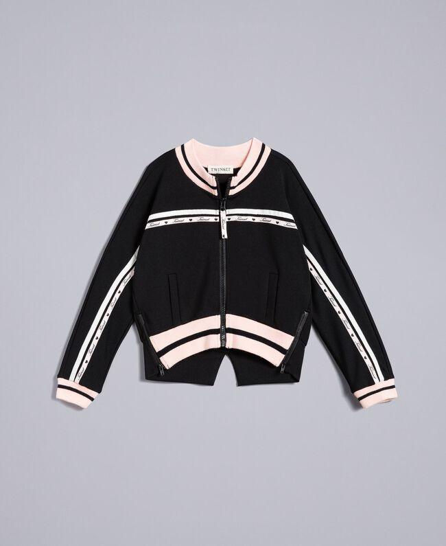 Sweat en tissu technique avec logo Bicolore Noir / Rose «Blush» Enfant GA82PN-01