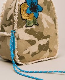 Canvas backpack with patch and fringes Camouflage Print / Vivid Blue Woman 201MO8041-03
