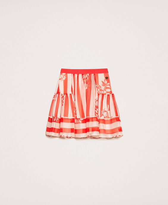 Creponne skirt with stripes and flower print