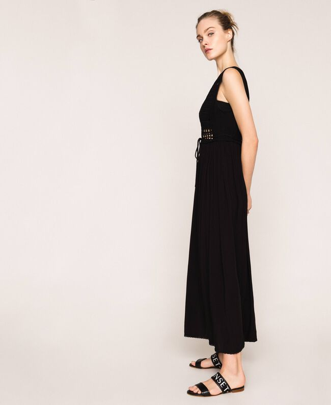 Long dress with crochet Black Woman 201LB36AA-01