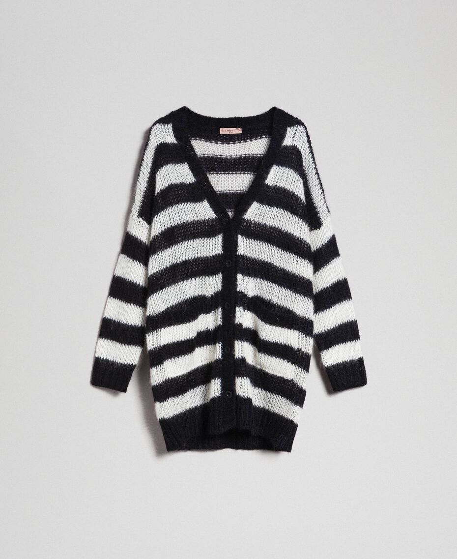 "Striped mohair maxi cardigan Black / ""Papyrus"" White Stripe Woman 192TP3272-0S"