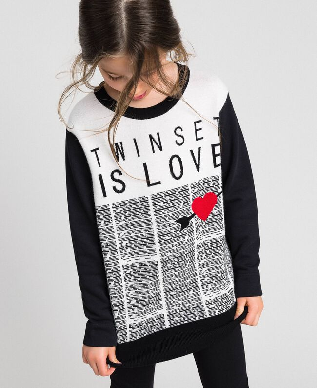 Sweatshirt with jacquard knit inlay Jacquard Black / Off White Child 192GJ2310-01
