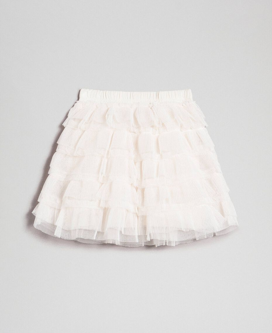 Pleated flounce tulle skirt Pale Cream Child 192GB2110-0S