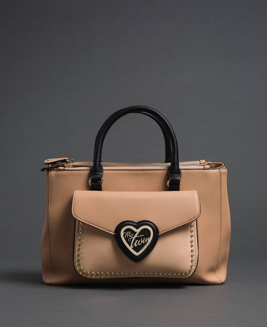 Two-tone faux leather shopper Irish Cream / Blossom Pink Woman 192MA7100-02