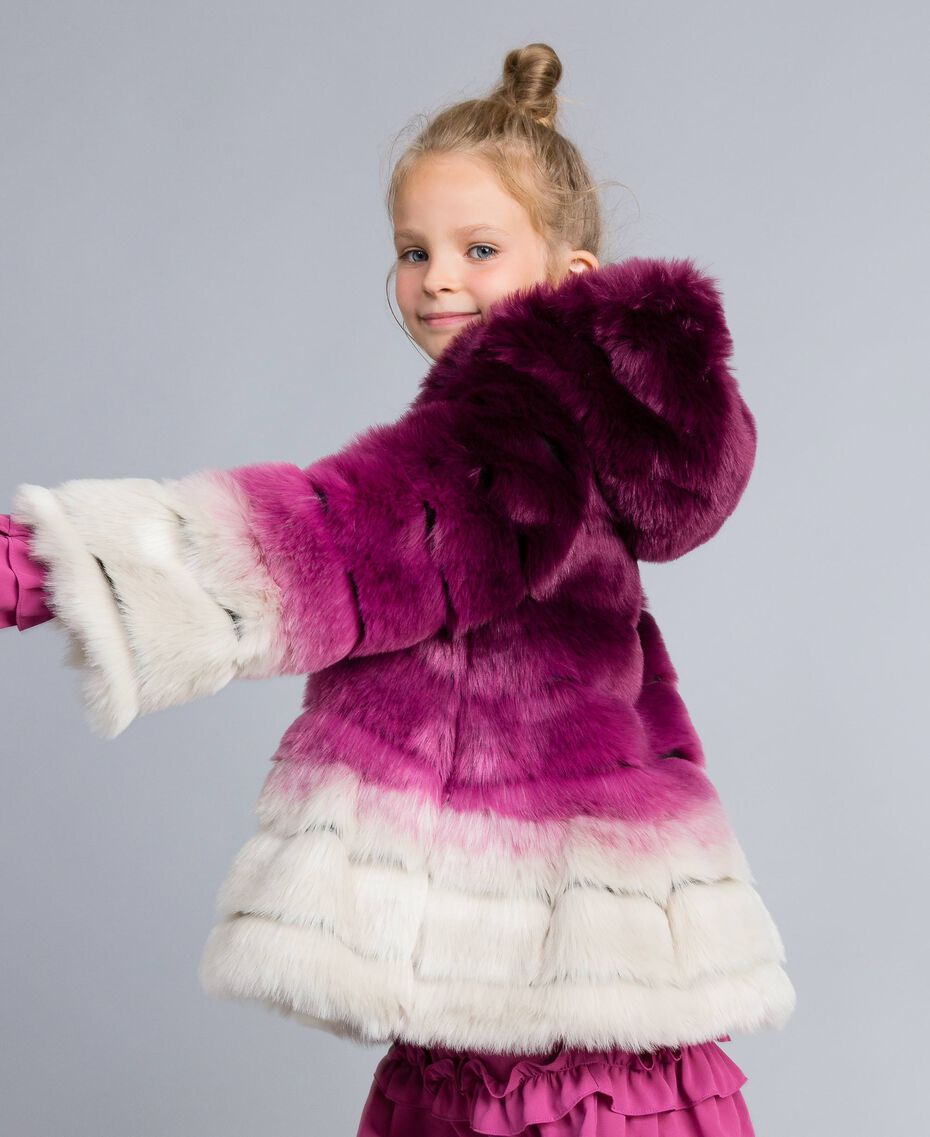Veste réversible en fausse fourrure Imprimé Dégradé Violet Raisin/ Rose Bougainvillier Enfant GA82AR-02