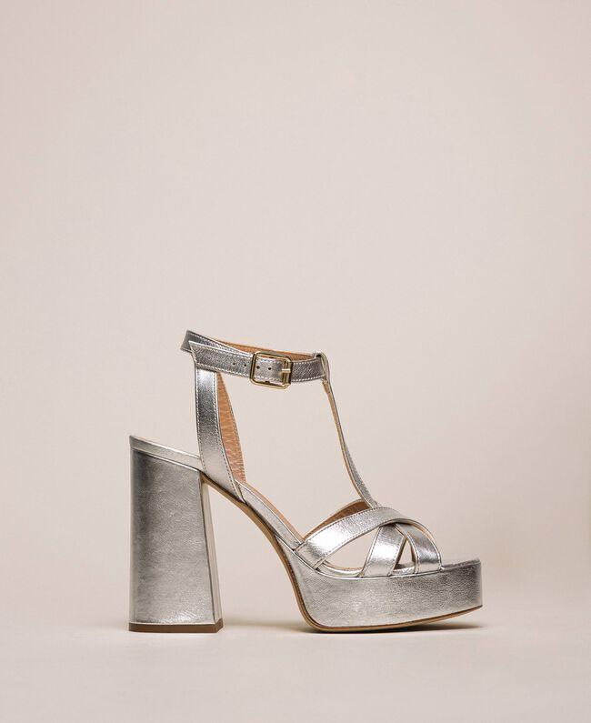T-Bar-Sandalette aus Metallic-Leder Silber-Metallic-Grau Frau 201TCP074-01