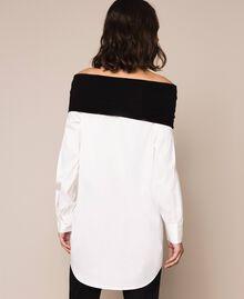 Soft collar poplin shirt Two-tone Lily / Black Woman 201MP218F-03