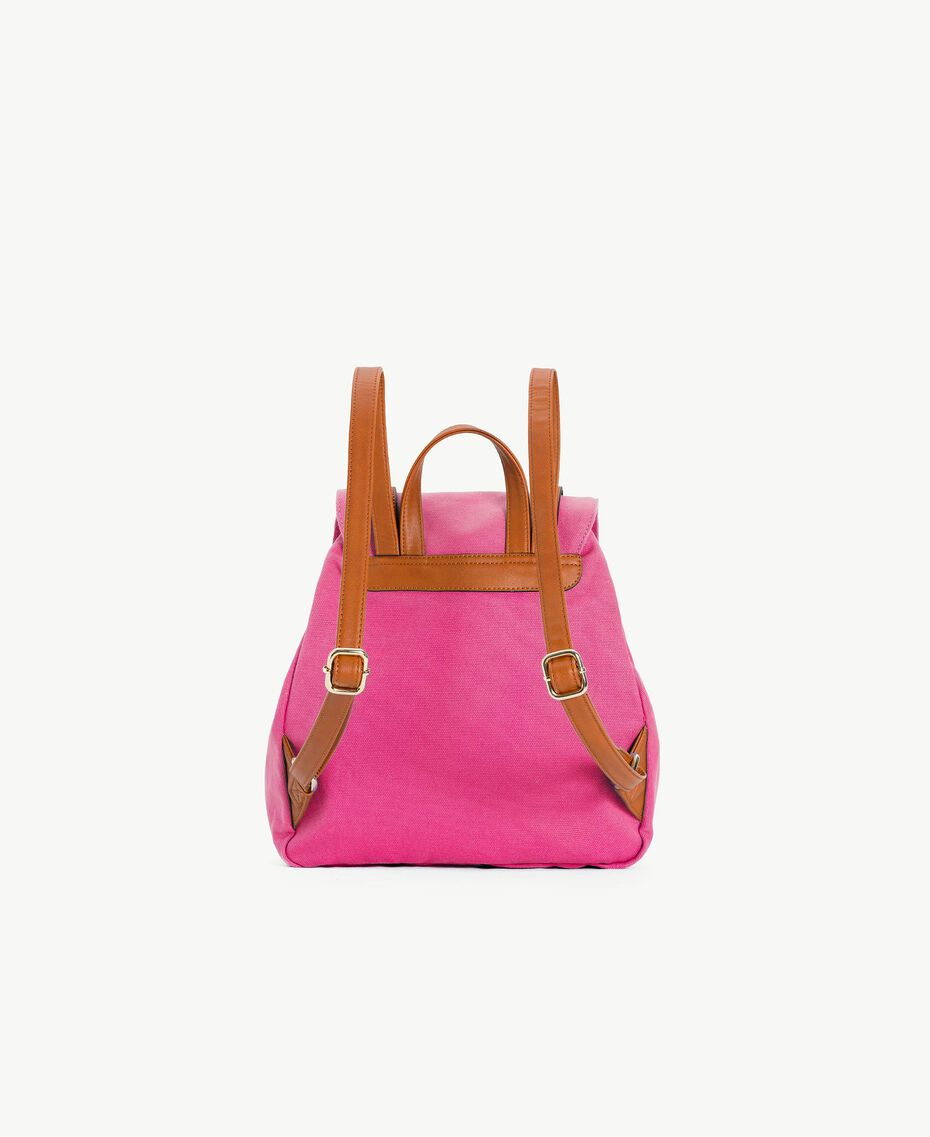 TWINSET Canvas backpack Two-tone Provocateur Pink / Leather Woman OS8TAG-03