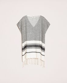 Jacquard poncho with stripes and fringes Ivory / Black Woman 201LM4ZCC-0S