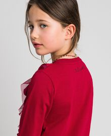 T-shirt with tulle flounces and necklace Ruby Wine Red Child 192GJ2433-04