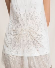 Long tulle top with sequins Ivory Woman 201LB21MM-04