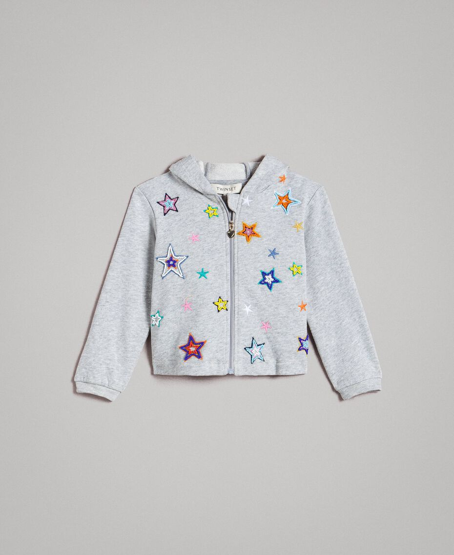 Stretch cotton sweatshirt with embroidered stars Light Gray Mélange Child 191GB2321-01
