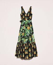 Vestido largo estampado con volantes Estampado Summer Fruits Negro Mujer 201TT2463-0S