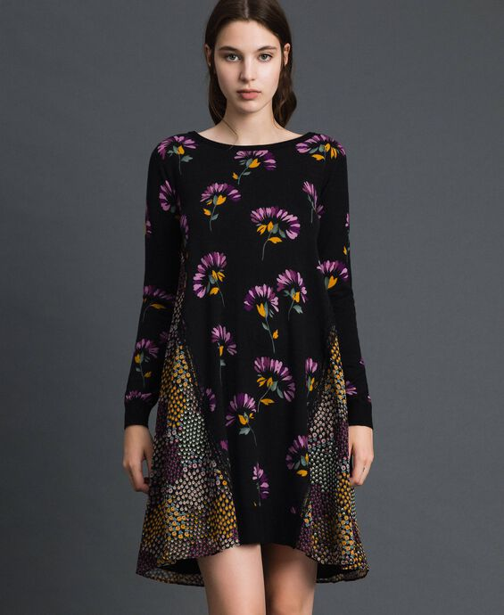 Printed knit dress with inlays