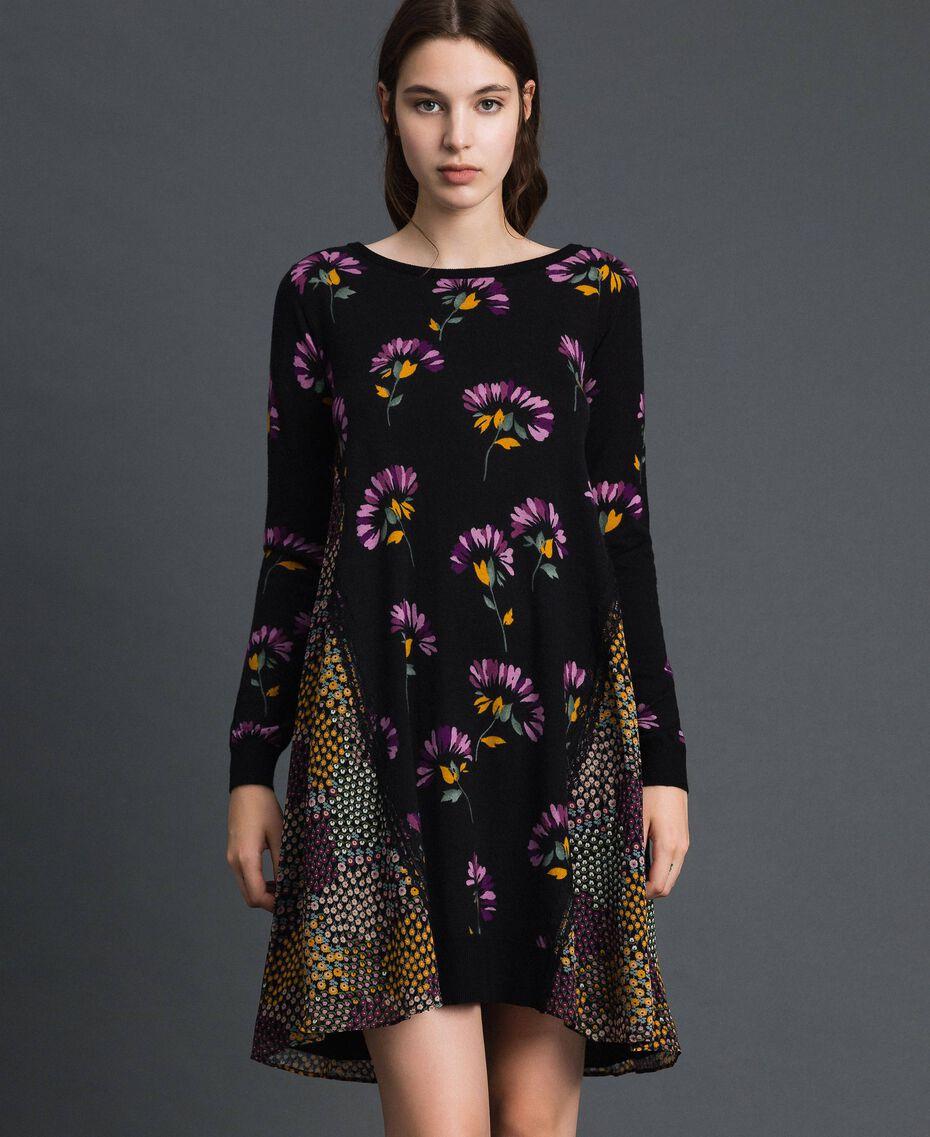 Robe en maille imprimée avec insertions Imprimé Camouflage Femme 192TT3341-01