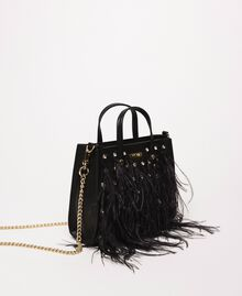 Shoulder bag with feathers and rhinestones Black Woman 201TA7192-02